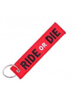 "Breloc moto textil ""Ride or die"", Rosu"