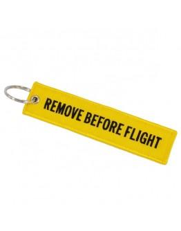 "Breloc moto textil ""Remove Before Flight"" Galben"